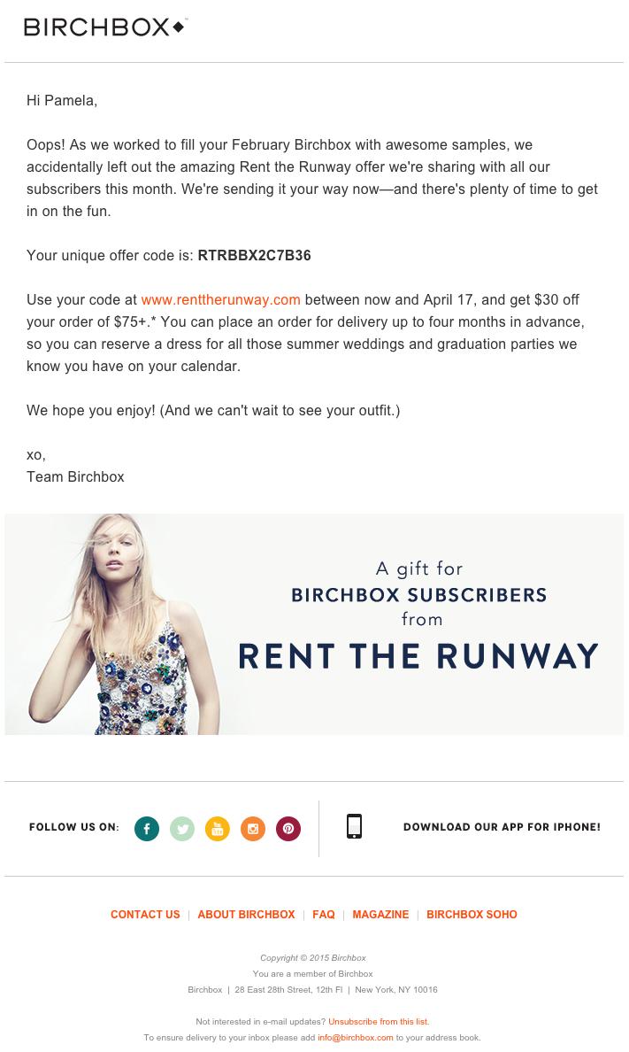 mẫu email marketing birchbox