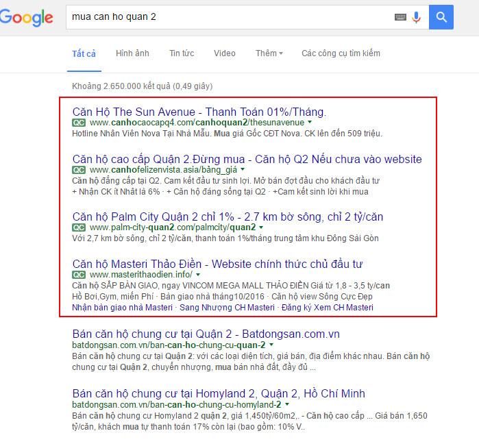 quảng cáo bất động sản trên google 1