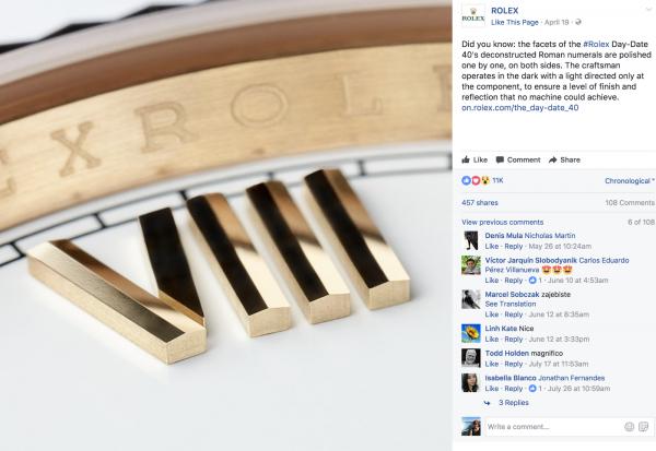 chiến lược marketing của Rolex trên mạng xã hội