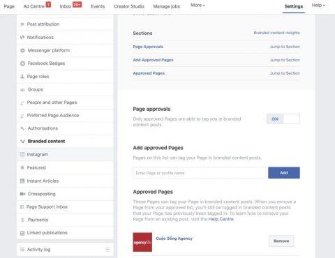 Truy cập branded content trên fanpage