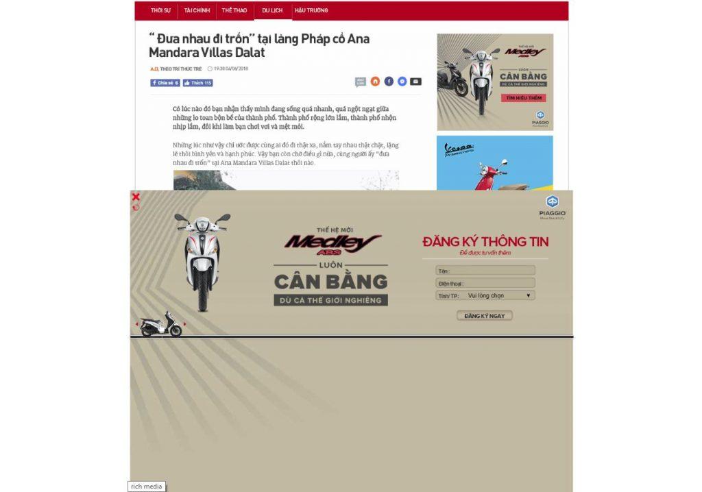 Ví dụ về quảng cáo rich media ads
