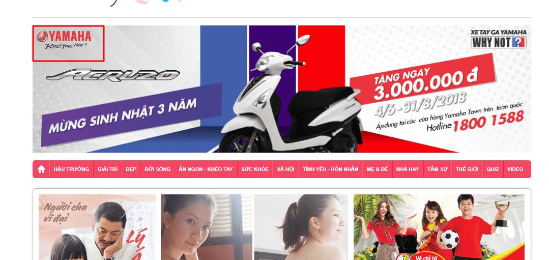 Banner quảng cáo trên website Yamaha