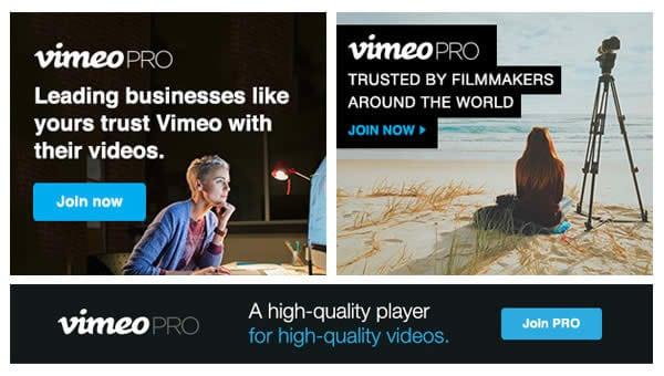 Màu sắc Banner quảng cáo của Vimeo