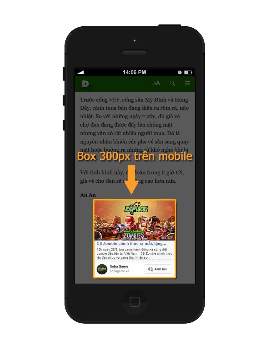 Các chế độ hiển thị của viewplus thuộc admicro - box 300px trên mobile