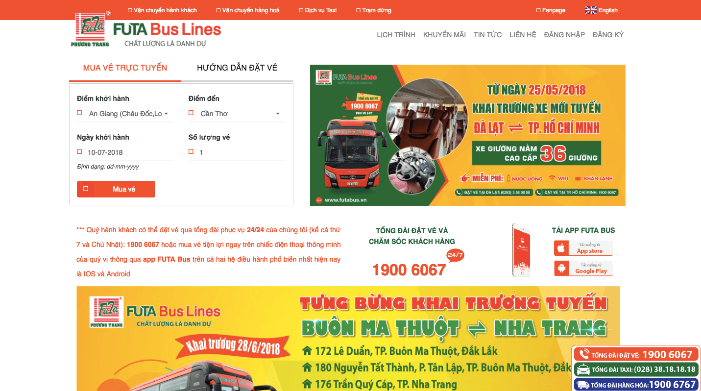 Website - kênh làm content marketing của công ty vận tải lớn
