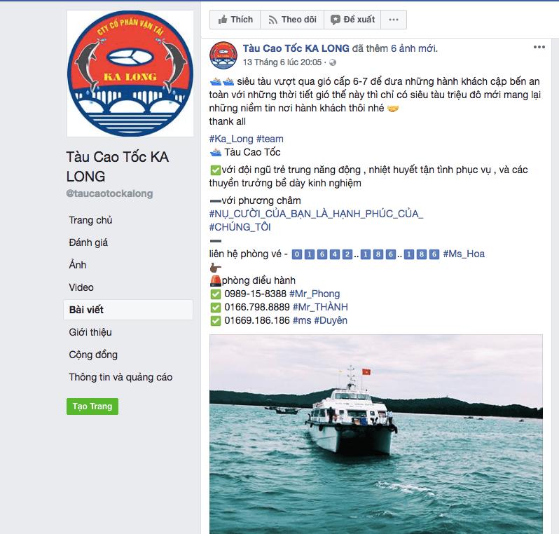 Công ty vận tải Kalong làm content marketing trên Facebook