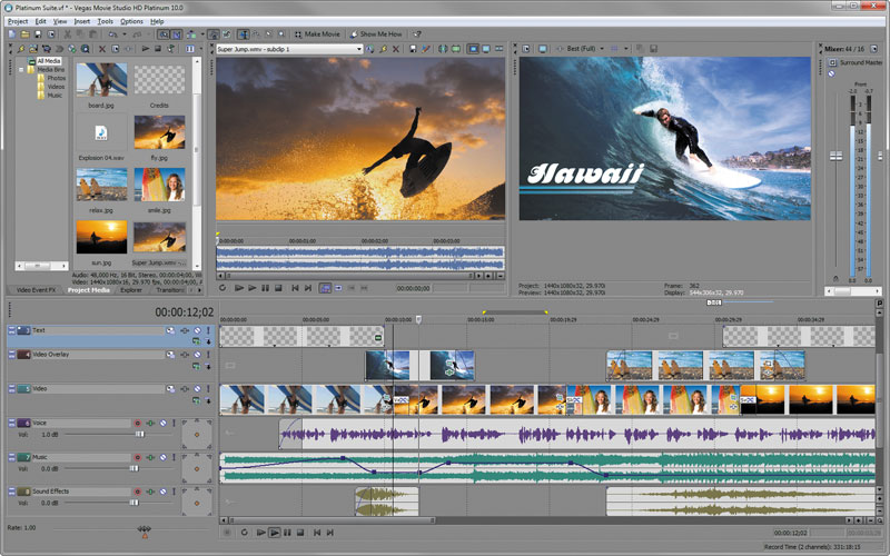 phần mềm chỉnh sửa video Sony Vegas Movie Studio HD Platinum