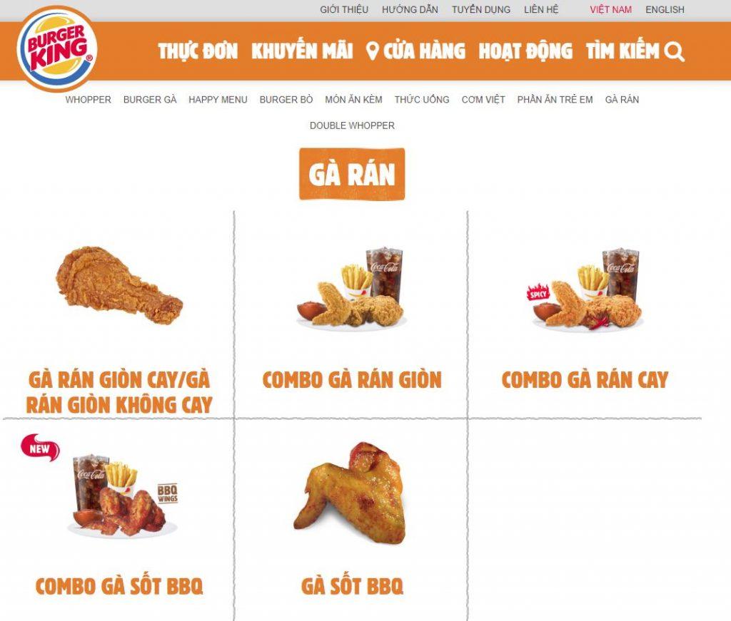 Menu trực tuyến - Content Marketing nhà hàng Burger King