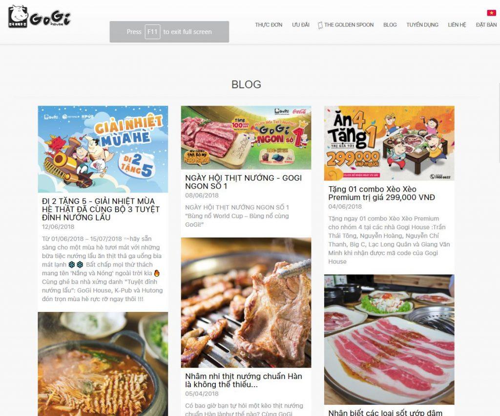 Blog - Content Marketing nhà hàng của Gogi