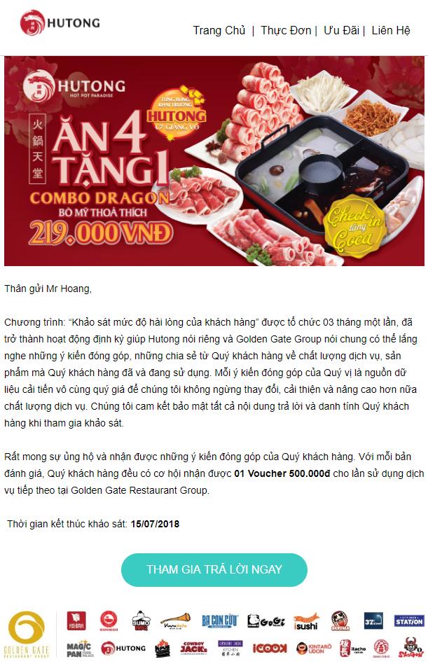 Newsletter - Content Marketing cho nhà hàng Hutong