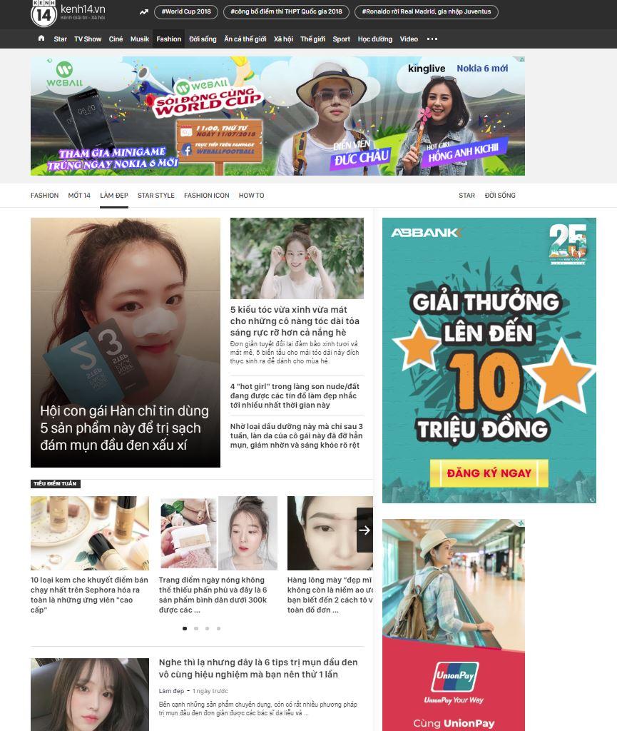 PR trên Kênh 14 - kênh marketing cho ngành mỹ phẩm