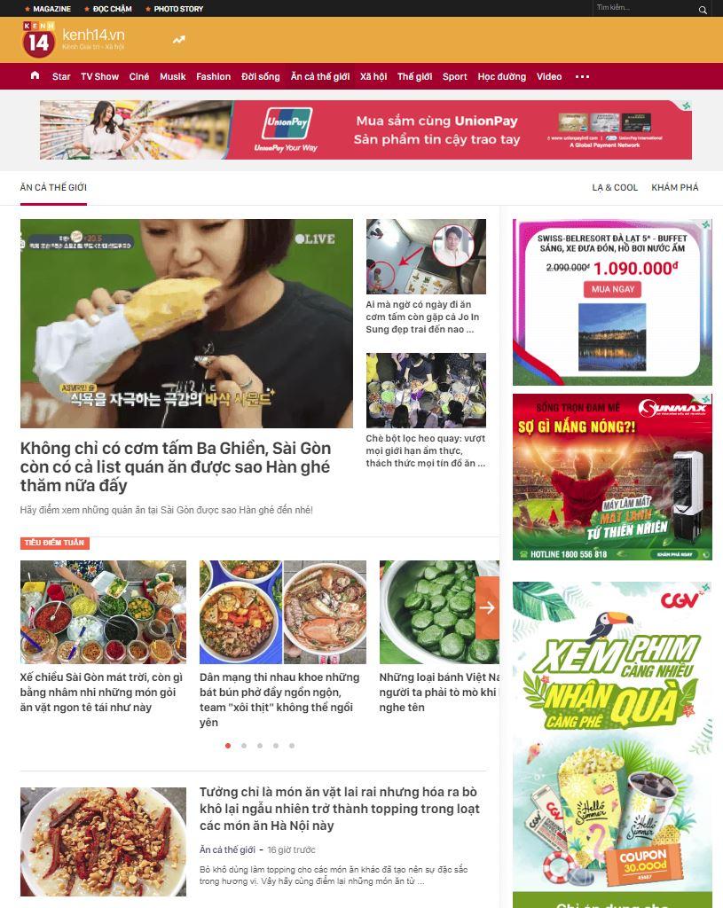 Content Marketing nhà hàng ẩm thực trên Kênh14