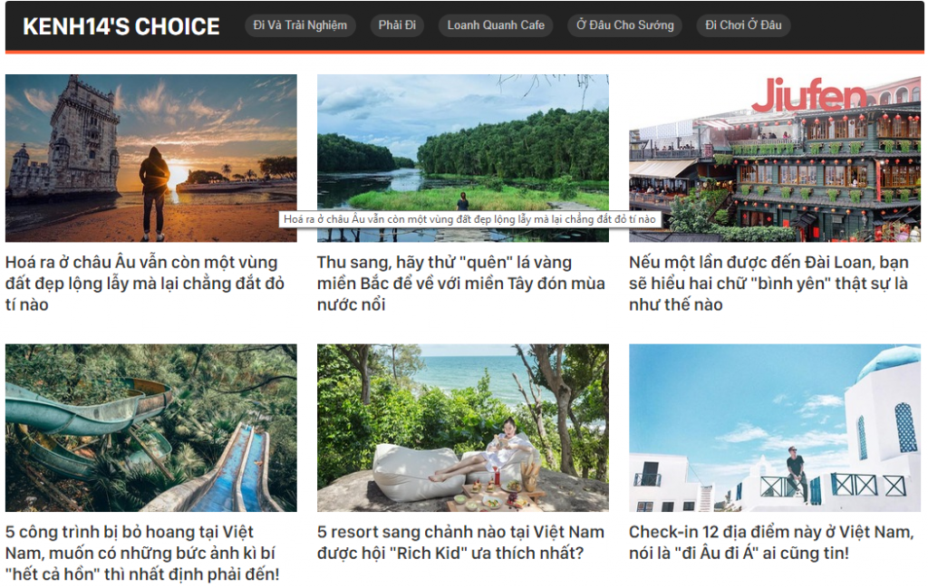 Content Marketing du lịch trên Kênh14
