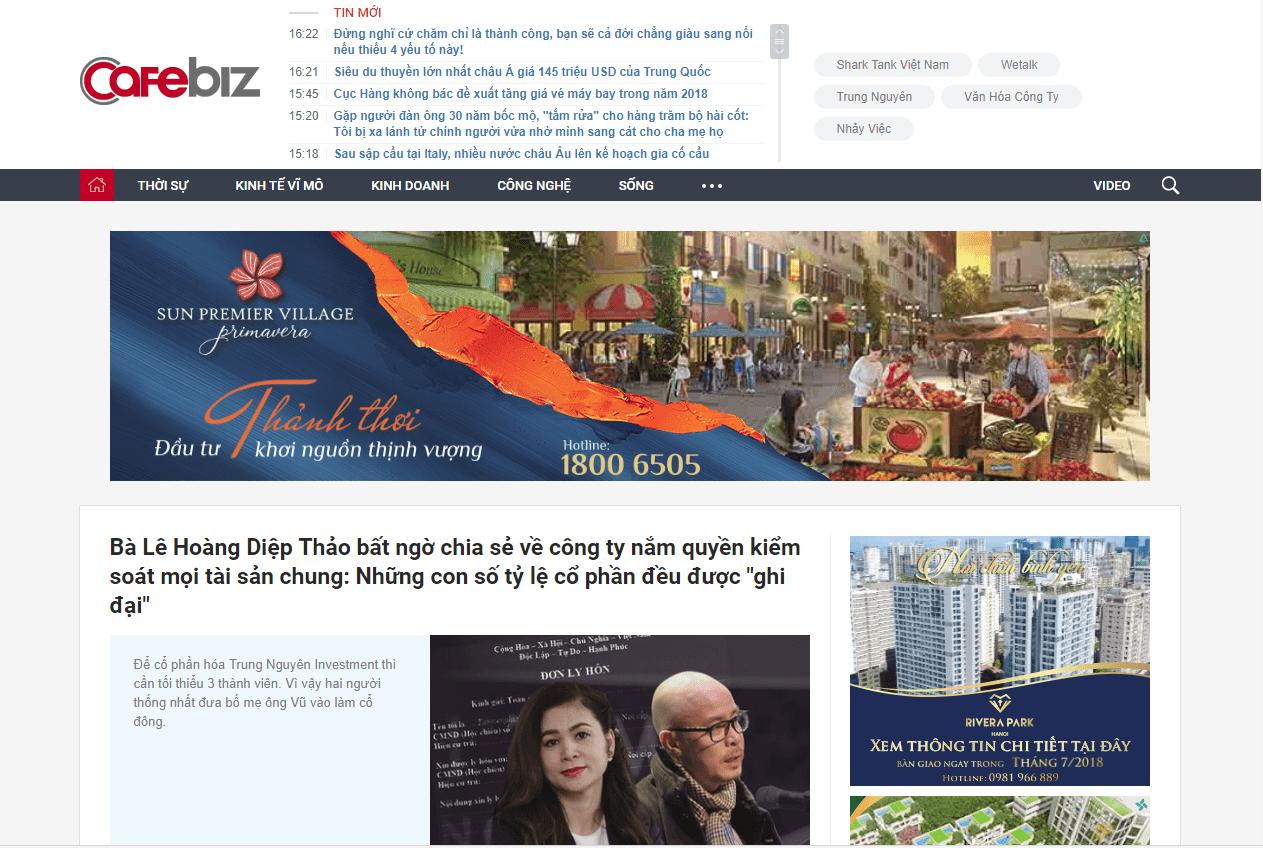 báo giá bài pr cafebiz - Trang tin tức hàng đầu dành cho giới kinh doanh