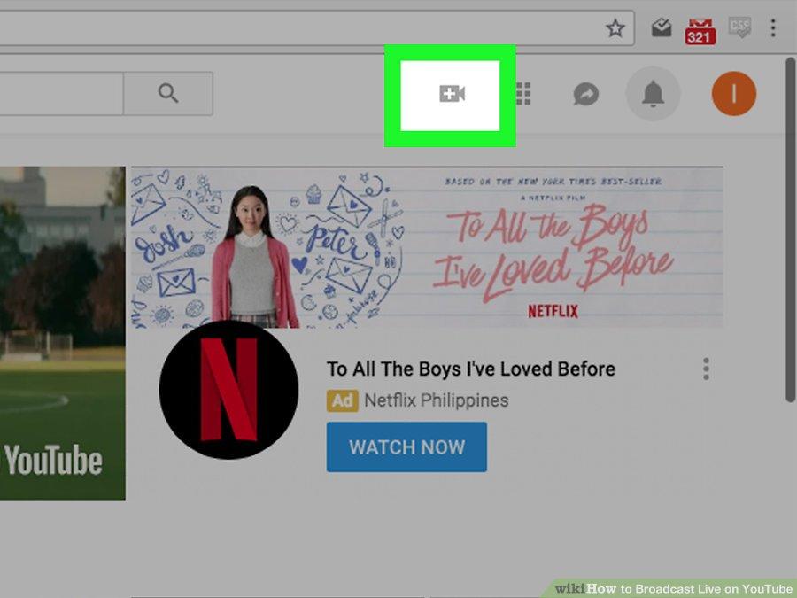 Cách live stream Youtube trên PC - Lựa chọn biểu tượng tải lên