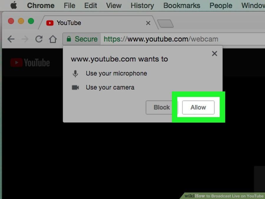 """Cách live stream Youtube trên PC - Click vào """"Cho phép"""""""