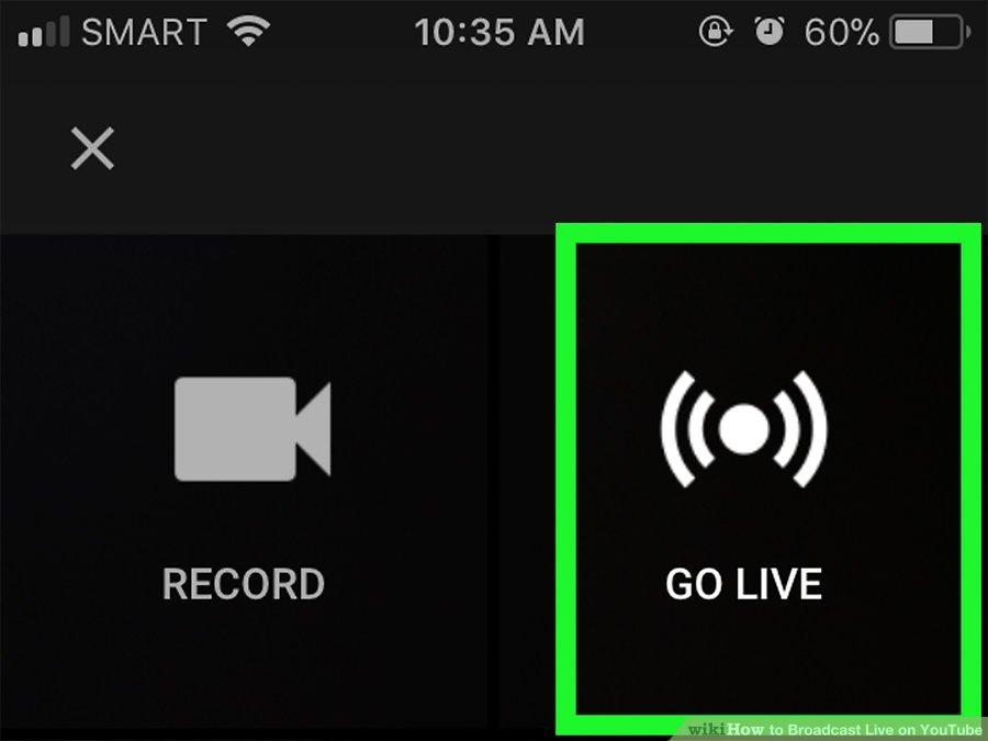 Cách live stream trên Youtube bằng điện thoại - Bước 4: Click vào Go live để bắt đầu live stream