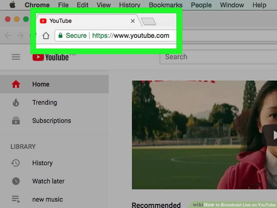 Cách live stream Youtube trên PC - Truy cập youtube.com