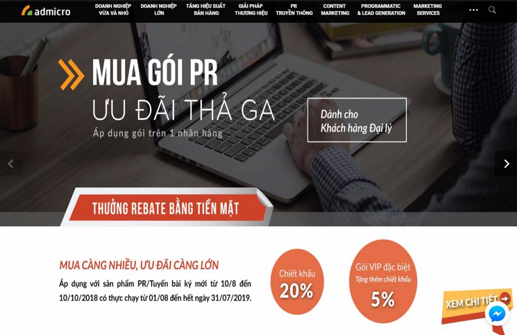 Website Marketing là gì - Giao diện một trang Website
