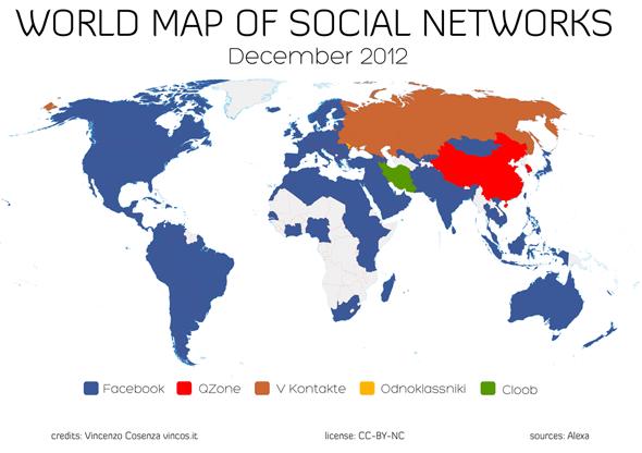 Facebook đạng hiện diện ở hầu hết các quốc gia