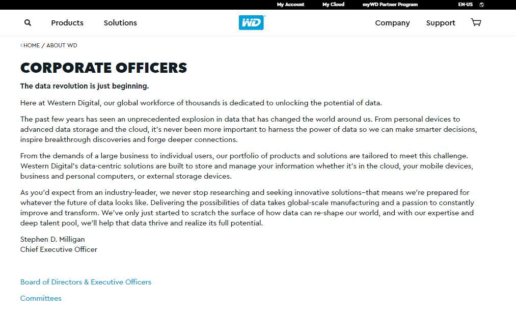 Western Digital đặt dấu ấn của mình vào trong profile công ty