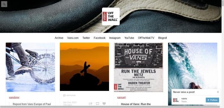vans - Những thương hiệu truyền thông hiệu quả trên mạng xã hội Tumblr là gì?