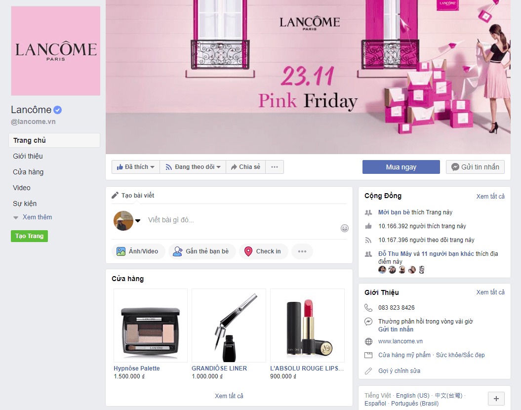 chiến lược Marketing của Lancôme- Truyền thông fb mạnh