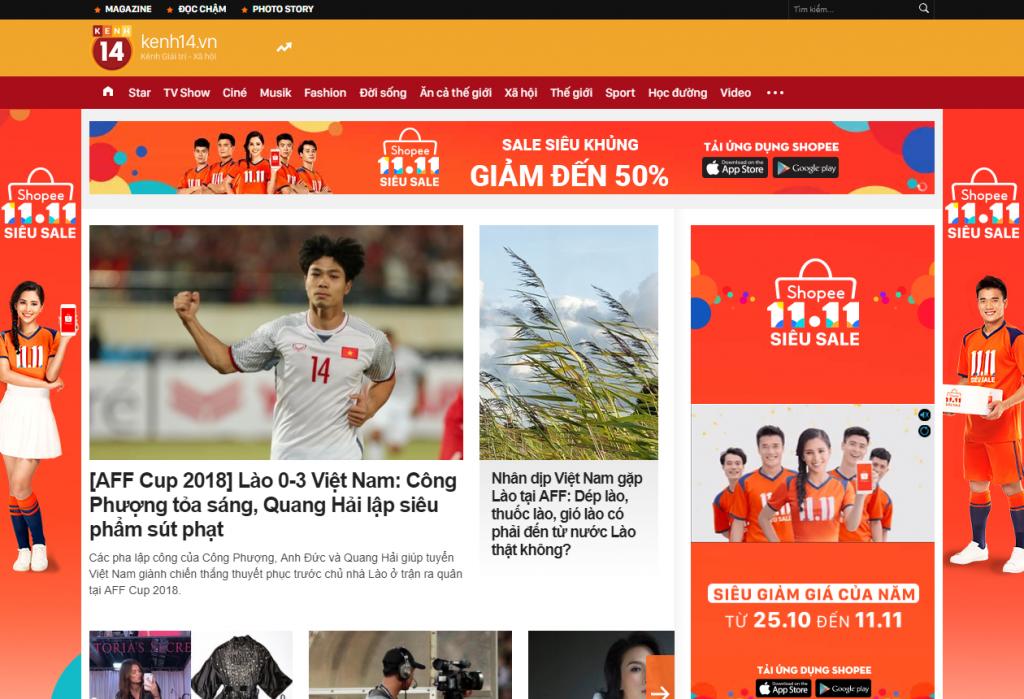 Quảng cáoCPD Full Homepage trên Kênh 14