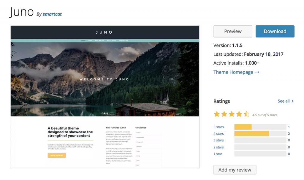 juno - Theme wordpress miễn phí tốt nhất