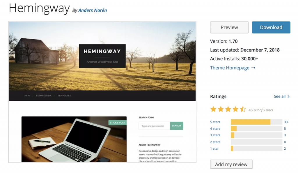 Hemingway - Theme wordpress miễn phí không thể bỏ qua
