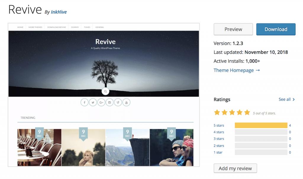 Revive - Theme wordpress miễn phí tốt nhất