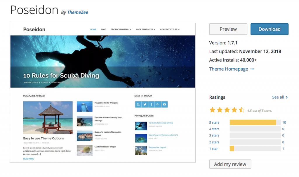 Poseidon - Theme wordpress free tốt nhất