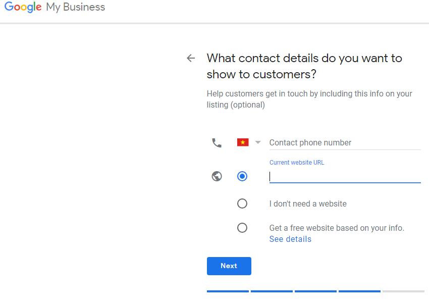 Lựa chọn những thông tin khách hàng có thể liên lạc