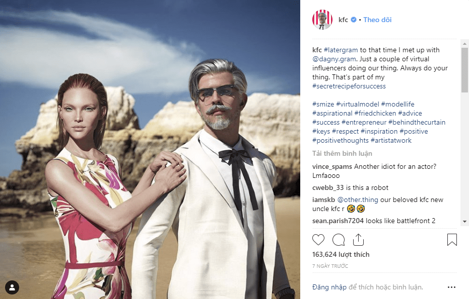 """Thật thú vị! KFC tạo ra một """"Influencer ảo"""" lấy hình tượng từ đại tá Sanders FnB Việt Nam"""