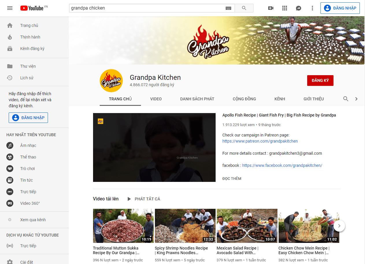 Nội dung Bà Tân Vlog giống tới 99% với kênh nổi tiếng Granpa Kitchen này