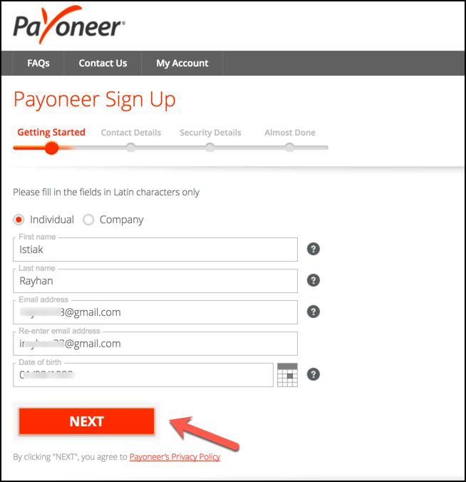 Giao diện đăng ký payoneer - Thông tin cá nhân