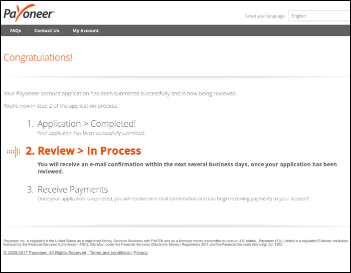 Giao diện đăng ký payoneer - Xem lại quá trình đăng ký