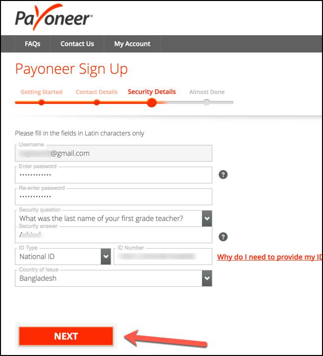 Giao diện đăng ký payoneer - Đăng ký thông tin quốc gia