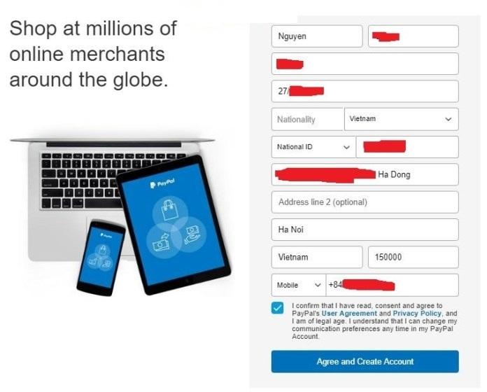 Nhập thông tin cá nhân trên Paypal là gì?