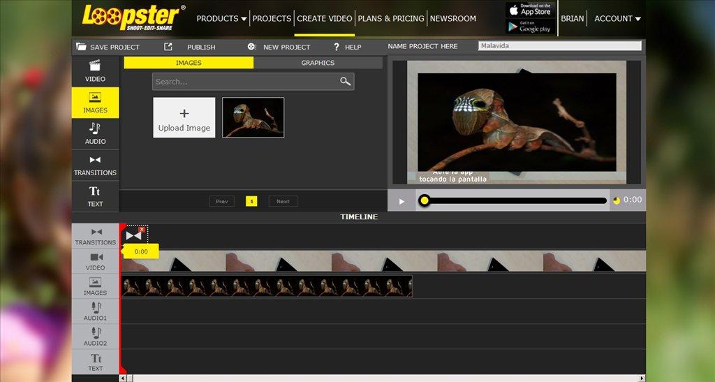 Loopster - trang web chỉnh sửa video online sử dụng lưu trữ đám mây