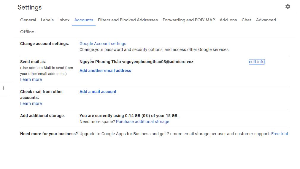 Hướng dẫn đổi tên hiển thị Email