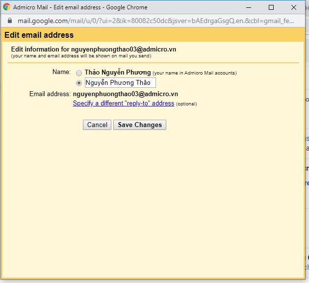 Hướng dẫn đổi tên hiển thị Email 2