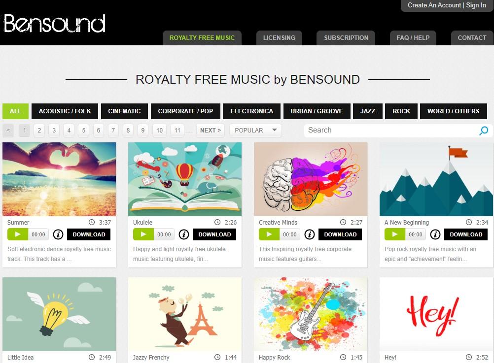 Bensound - kho nhạc cover không bản quyền