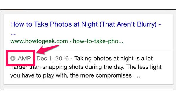 Trạng thái hiển thị AMP trên Google Search: