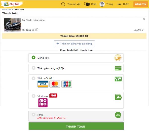 Cách thanh toán khi đăng tin trên Chợ Tốt
