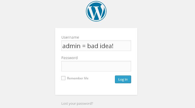 """bảo mật wordpress - Đừng sử dụng """"admin"""" làm tên người dùng (username)"""