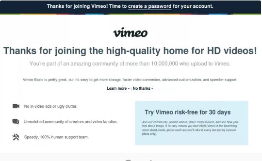 Giao diện yêu cầu tạo mật khẩu cho tài khoản vimeo