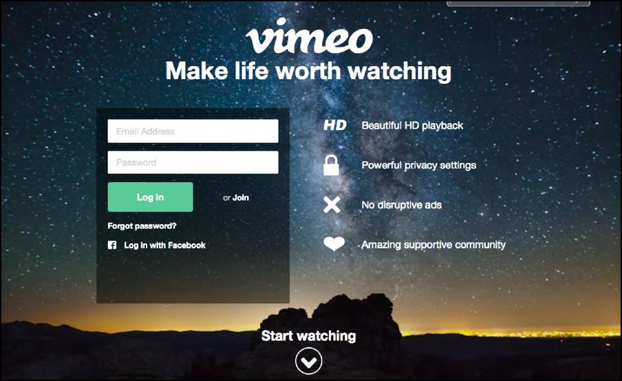 đăng nhập tài khoản vimeo