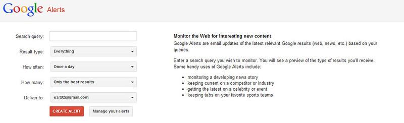 Thuật ngữ google alerts