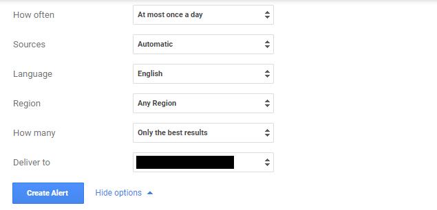Các lựa chọn khi tạo google alerts